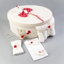 Trusou botez complet dantela rosu Nikos Collection