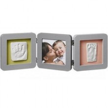 Rama foto amprenta bebe Double Print Frame Grey Baby Art