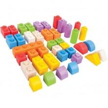 BigJigs Cuburi din lemn - Set 40 buc
