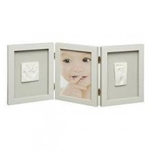 Rama foto cu 2 amprente Photo frame with 2 Baby prints taupe My Sweet Memories