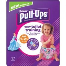 Chilotei pentru antrenament la olita fetite Huggies Pull Ups (8-17 Kg)- 17buc/pachet