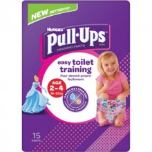 Chilotei pentru antrenament la olita fetite Huggies Pull Ups (18-23 Kg) 15buc/pachet