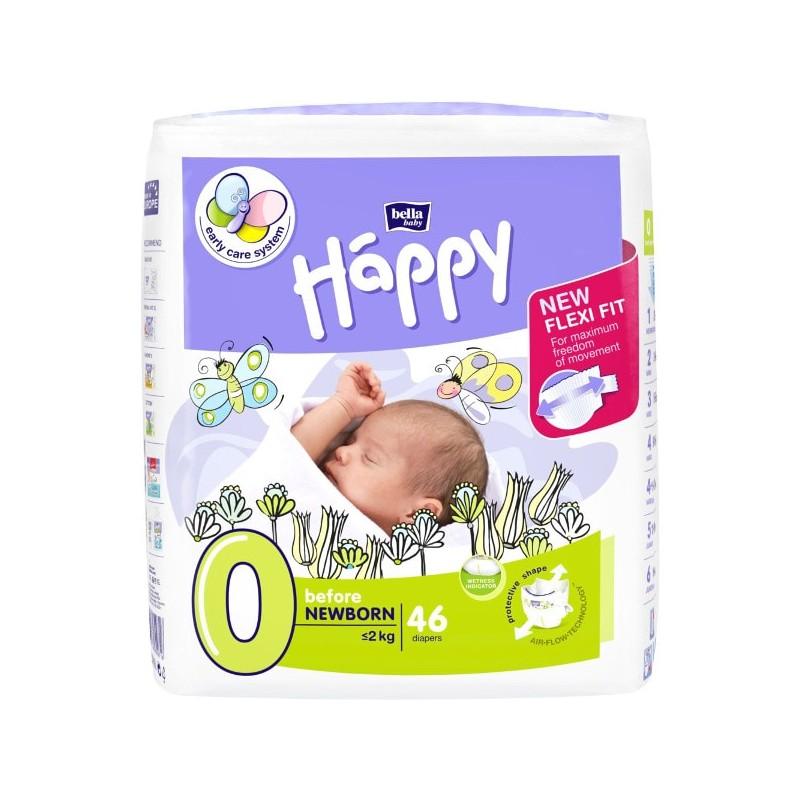 Scutece Happy bebelusi prematuri 46 buc Nr 0 sub 2kg
